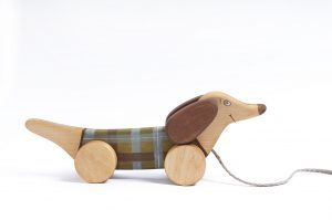 Wooden Toy, a Green Pull Dog