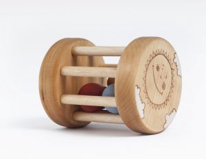 Wooden baby rattle, Organic baby toy