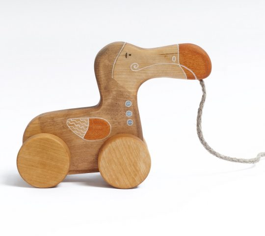 Dodo is an extinct, but we have our own handmade organic wooden toy Dodo. Pull wooden toy is quality crafted. Materials we use are natural and safe.