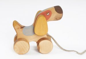 handmade wooden pull along toy, a dog