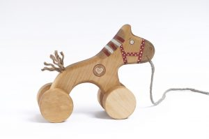 handmade wooden pull toy, horse toy