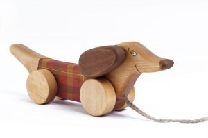 handmade wooden toy, pull along dog