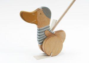 push along wooden toy, a handmade push duck