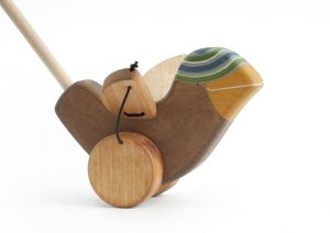 Push Along Wooden Toy, a Sparrow