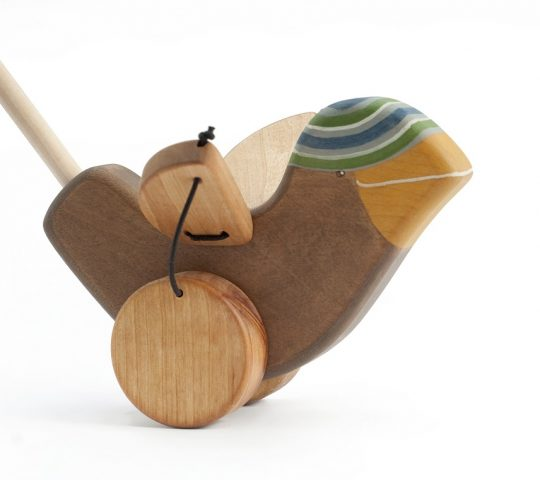 As a child walks pushing this eco frienldy wooden toy, Sparrow becomes so happy that he starts flapping his wings. This wooden toy is quality crafted and safe.