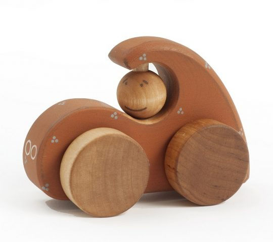 This tiny wooden car and its driver enjoy their rides in towns and forests.  The organic wooden toy is quality crafted and safe for children.