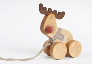 wooden christmas toy, handmade pull toy Reindeer