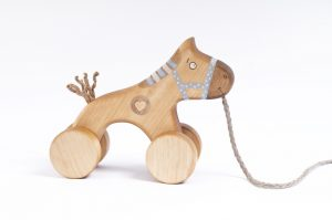wooden horse toy, handmade pull along toy