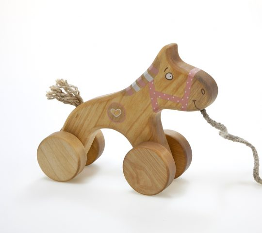 Wooden Horse Toy is pull toy made of natural materials and safe for children. This pink horse is of the best wooden toys for 1 year old you can find!