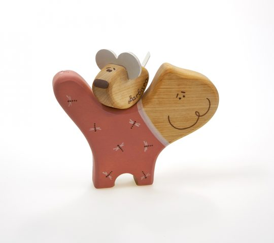 Our organic baby toy cat takes care and loves its tiny little pet mouse. This handmade wooden toy is qualify crafted and safe for children.