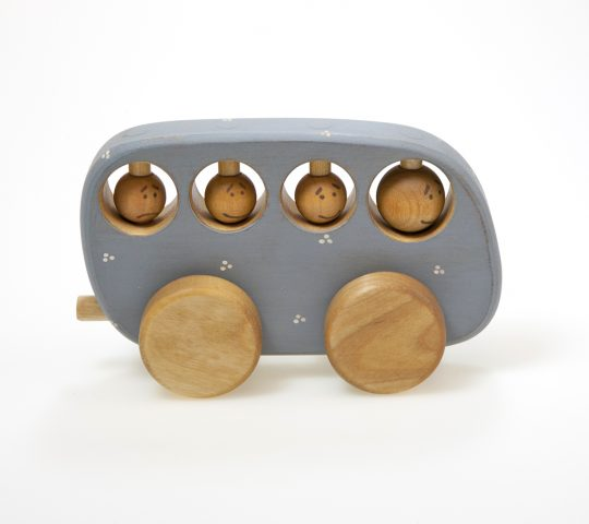 The Driver of organic wooden bus toy and passengers are very attentive. While riding around the forest they keep looking around and turning their heads.