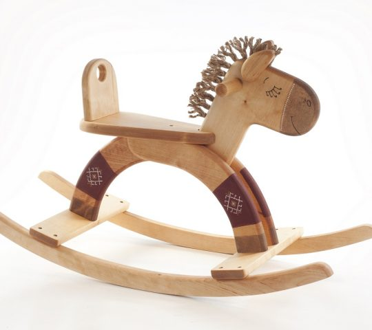 This handmade organic wooden rocking horse is quality crafted and sanded satin smooth. Materials we use are natural and safe for children.
