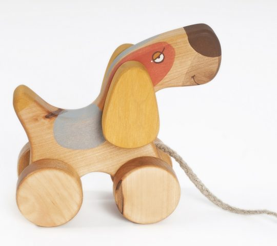 Being pulled, the handmade wooden pull toy dog starts flapping his ears and swinging up and down with his front wheels. Wooden toy is quality crafted and safe.