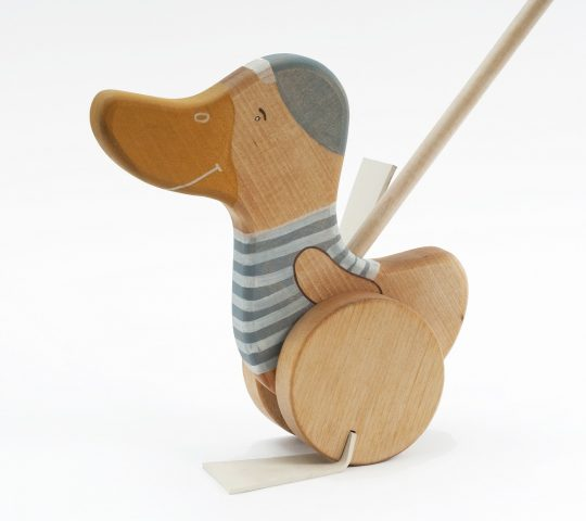 Push along wooden toy duck is such a passionate traveller that you can even hear his tiny rubber feet steps on the floor. This toy is quality crafted and safe.